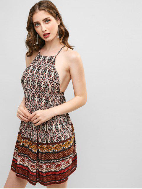 ZAFUL Robe Fleurie Sans Dos à Lacets - Multi-A S Mobile