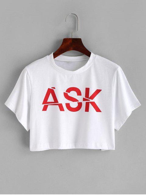 T-shirt ample à motif de lettres - Blanc M Mobile