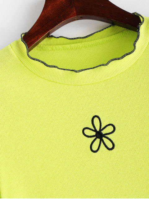T-shirt Néon Fleuri Brodé à Ourlet en Laitue - Vert Jaune L Mobile