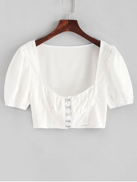 womens Hook and Eye Crop Solid Blouse - WHITE S Mobile