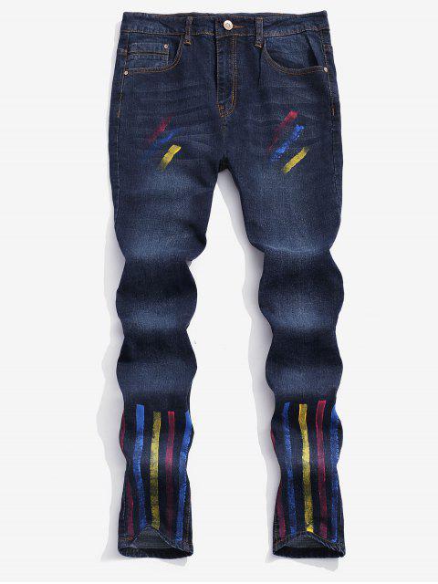Pantalon en denim imprimé peinture à rayures colorées - Bleu de Minuit 34 Mobile