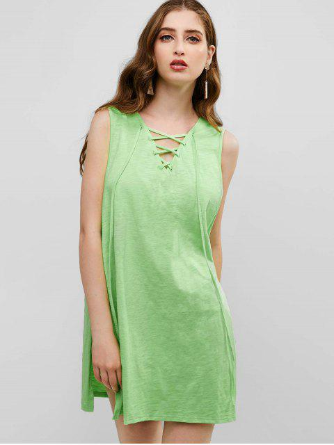outfits ZAFUL Lace Up Slits Hooded Cover Up - TEA GREEN ONE SIZE Mobile