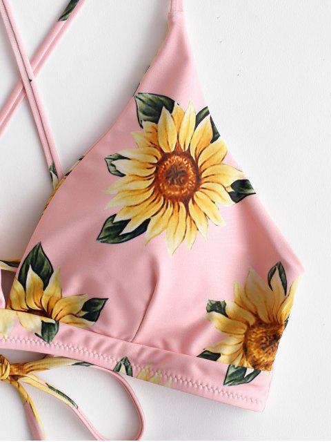 buy ZAFUL Sunflower Criss Cross Bikini Set - MAROON S Mobile