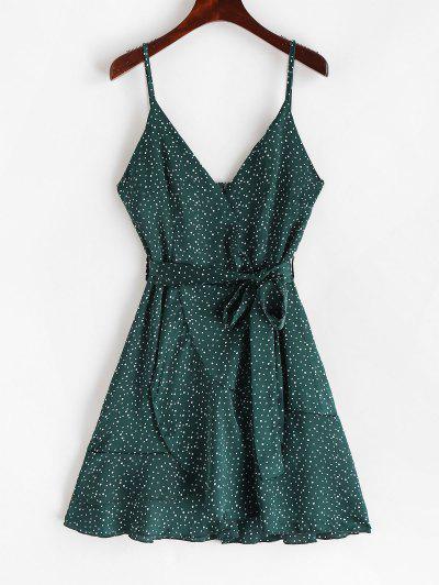 dc59d7e465eb Polka Dot Belted Surplice Cami Dress - Medium Sea Green M ...