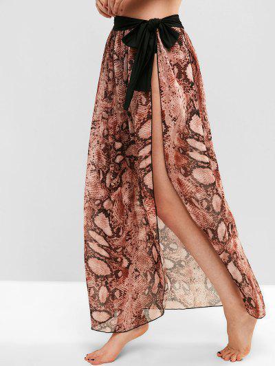 Chiffon Snake Print Sarong Cover Up Skirt - Multi-a