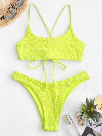 ZAFUL Crisscross Neon Smocked Bikini Set - Tea Green M