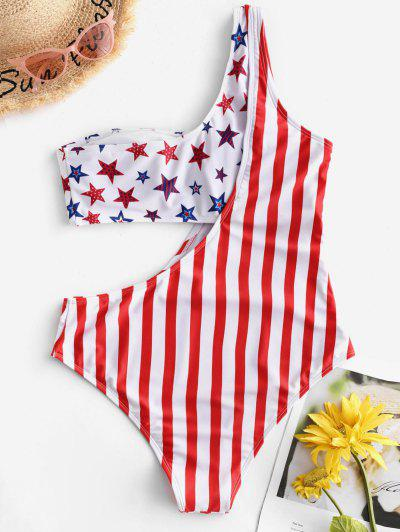 fe6a5ee331f ... ZAFUL American Flag Cutout One Shoulder One-piece Swimsuit - Multi-a M