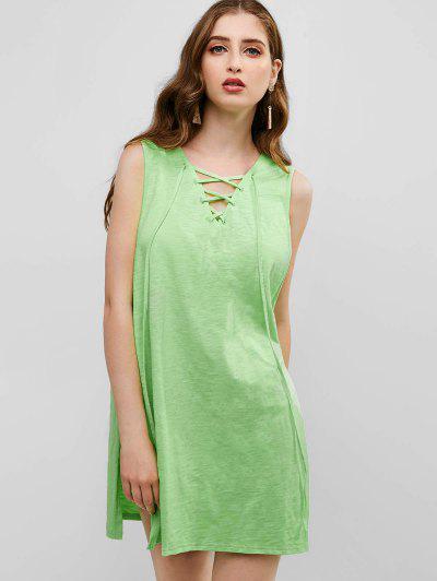 3247768ab679 ZAFUL Lace Up Slits Com Capuz Para Cima - Chá Verde ...