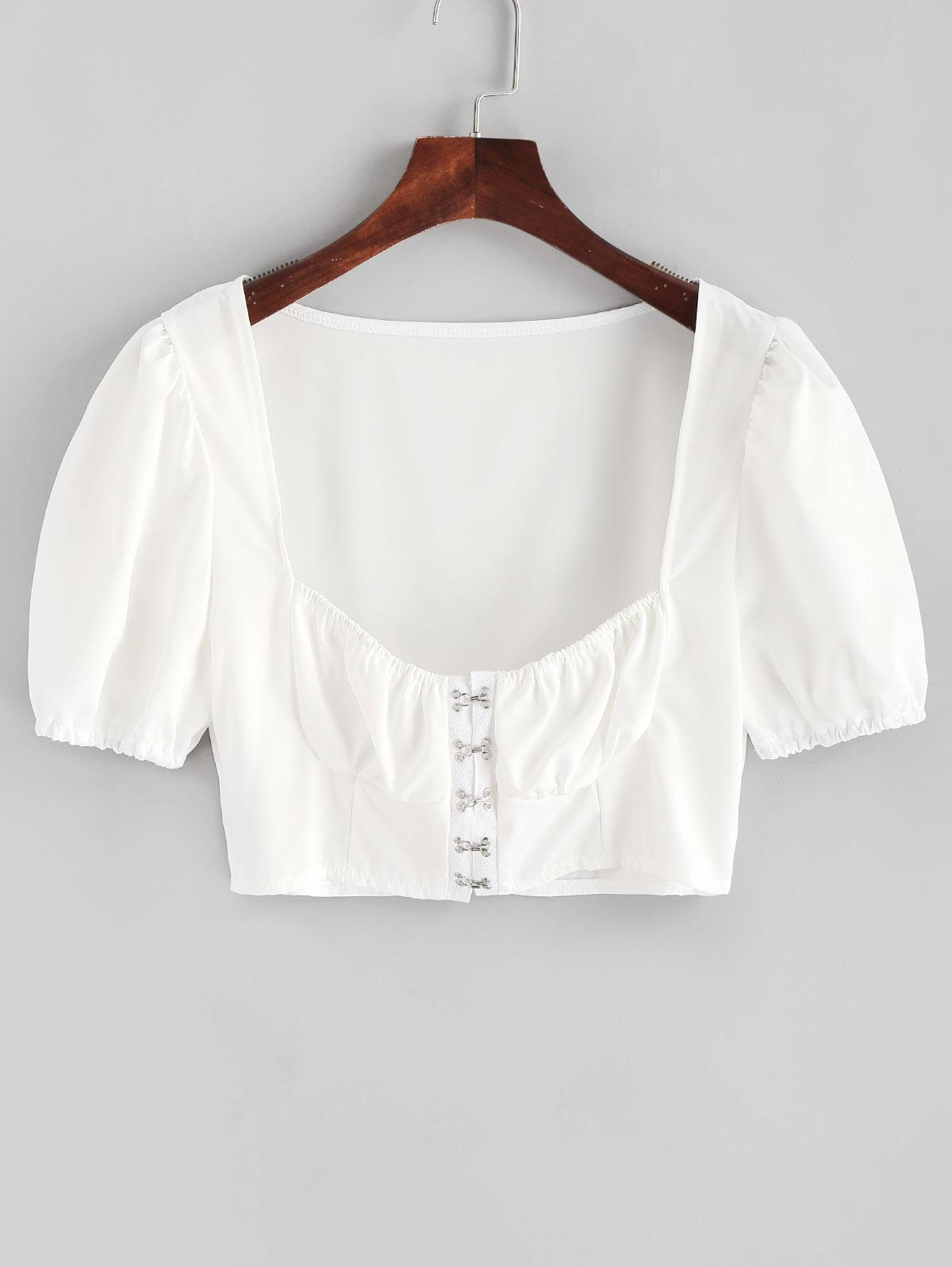 Hook and Eye Crop Solid Blouse thumbnail