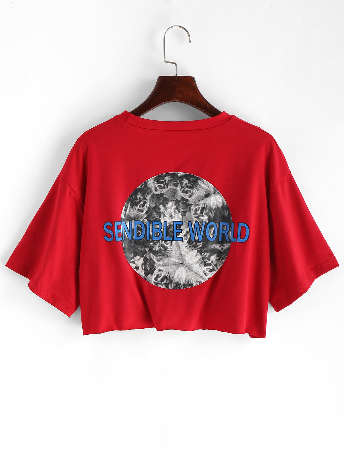 Letter Graphic Loose Crop Tee, Chestnut red