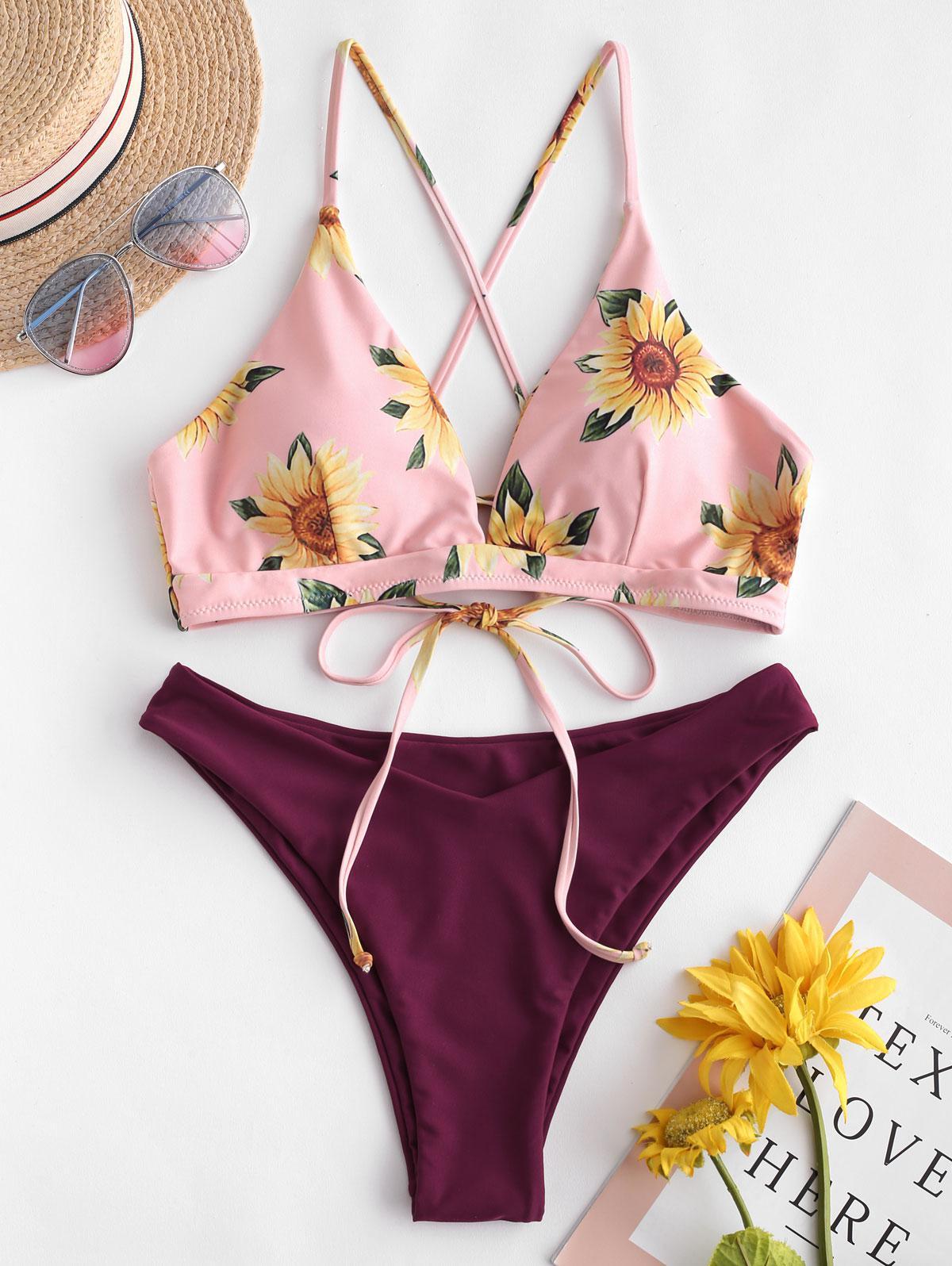 ZAFUL Sunflower Criss Cross Bikini Set thumbnail
