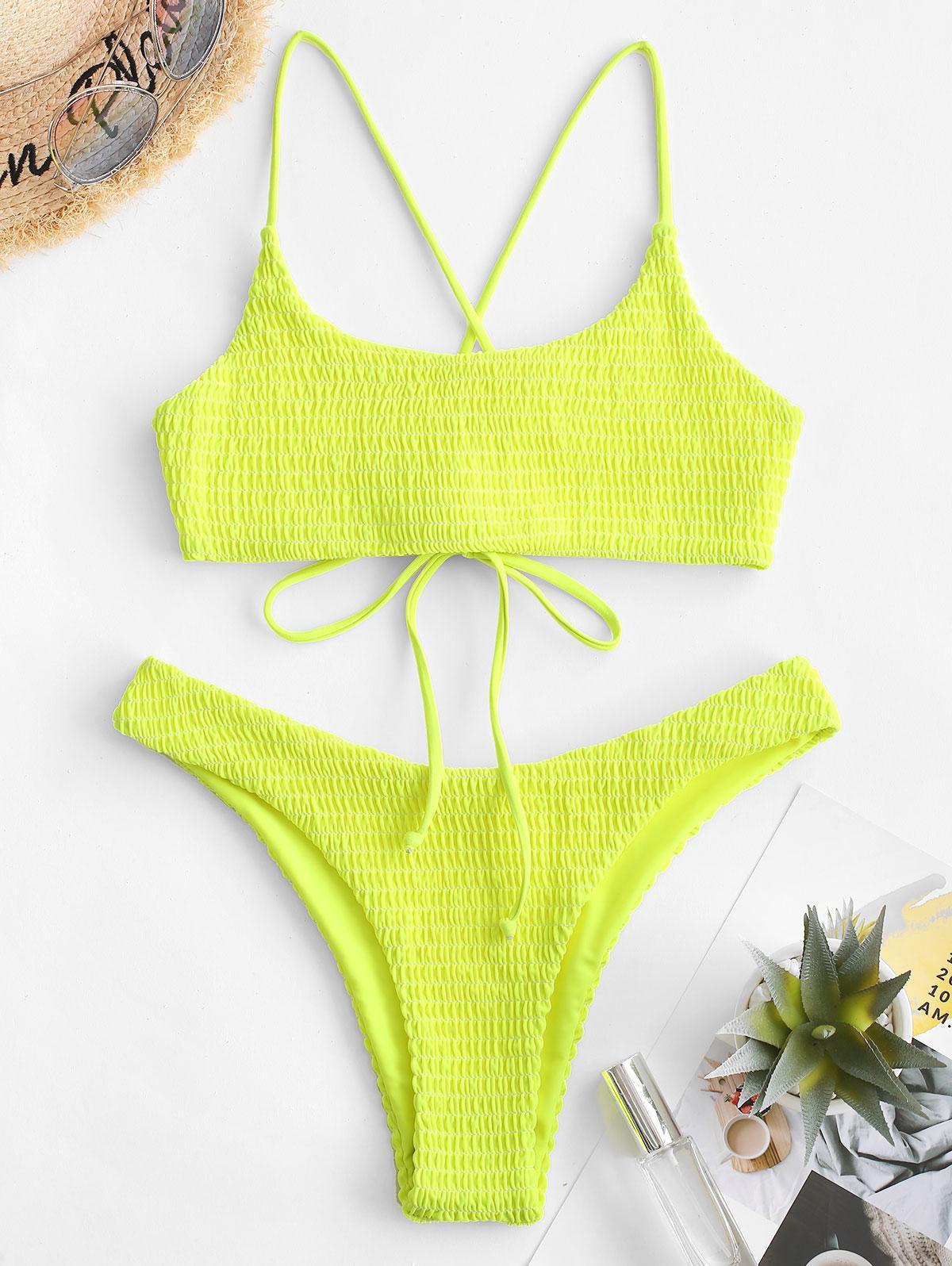 ZAFUL Crisscross Neon Smocked Bikini Set thumbnail