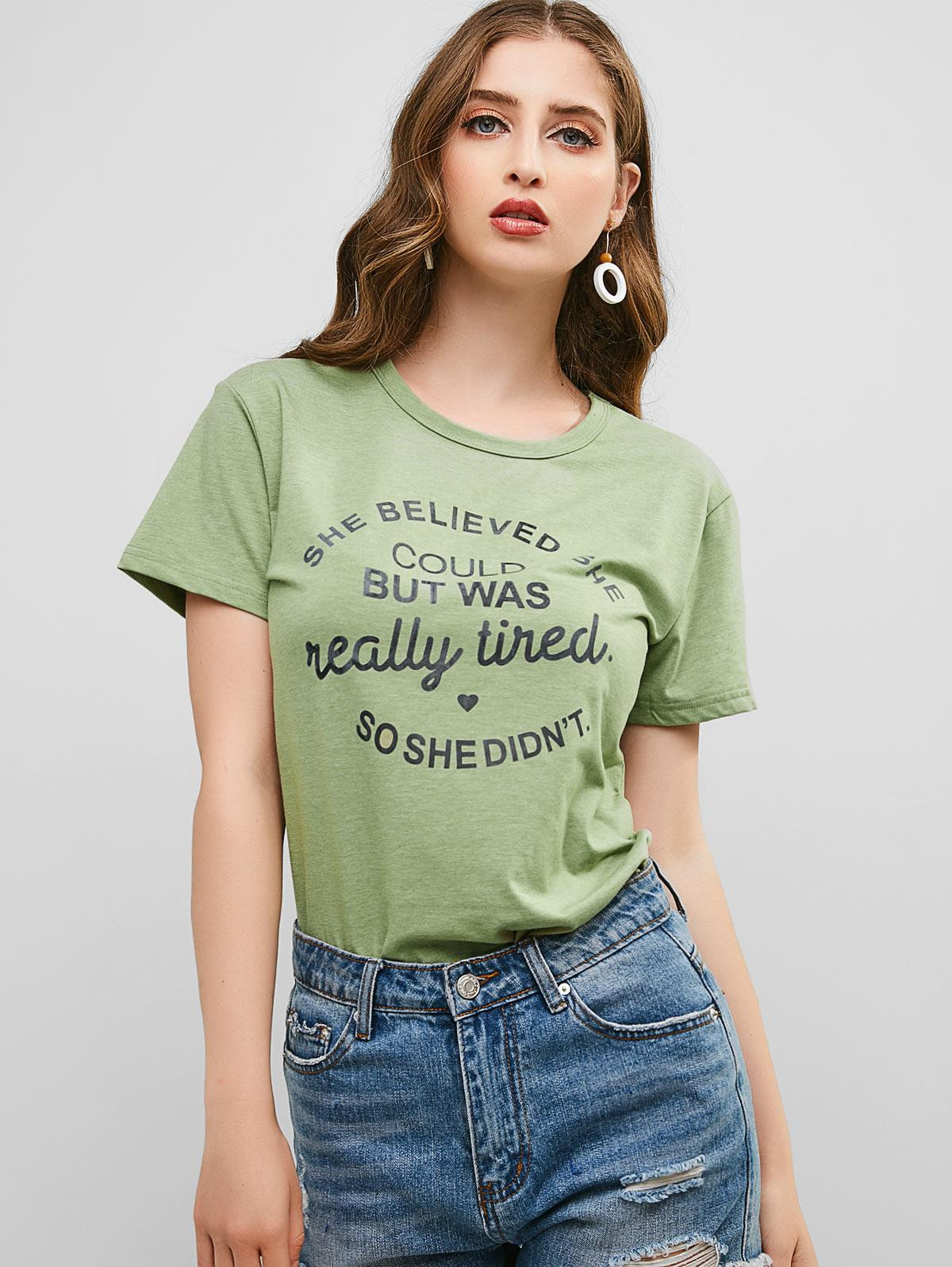 Letter Graphic Heart Basic T Shirt, Dark sea green