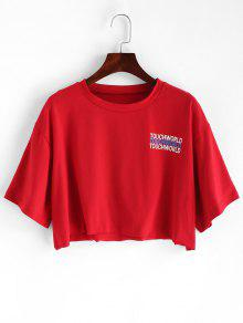 f6a01a438c3 31% OFF] [POPULAR] 2019 Letter Graphic Loose Crop Tee In CHESTNUT ...