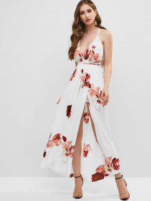 تداخل كريسس الصليب الأزهار فستان ماكسي - أبيض M
