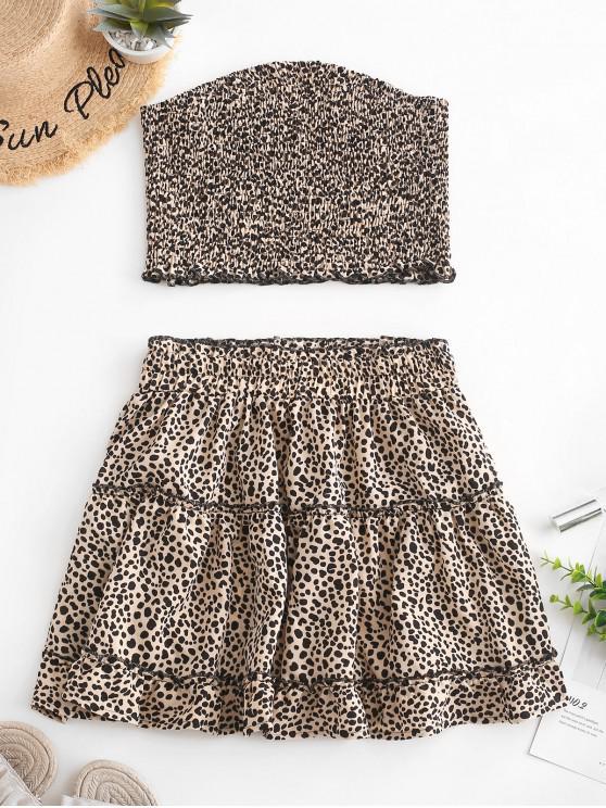 shop ZAFUL Printed Smocked Bandeau Top And Skirt Set - APRICOT M