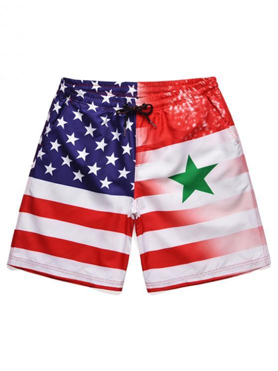 unique Drawstring American Flag Print Board Shorts - WHITE XL