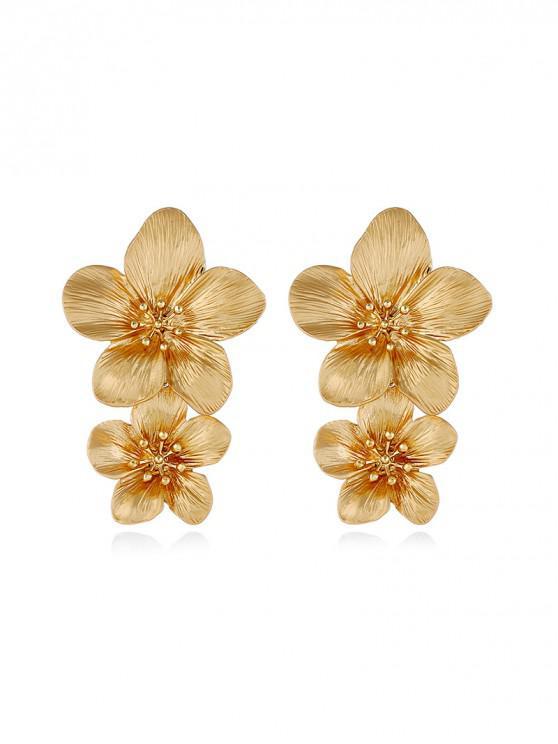 Aretes florales tallados vintage - Oro
