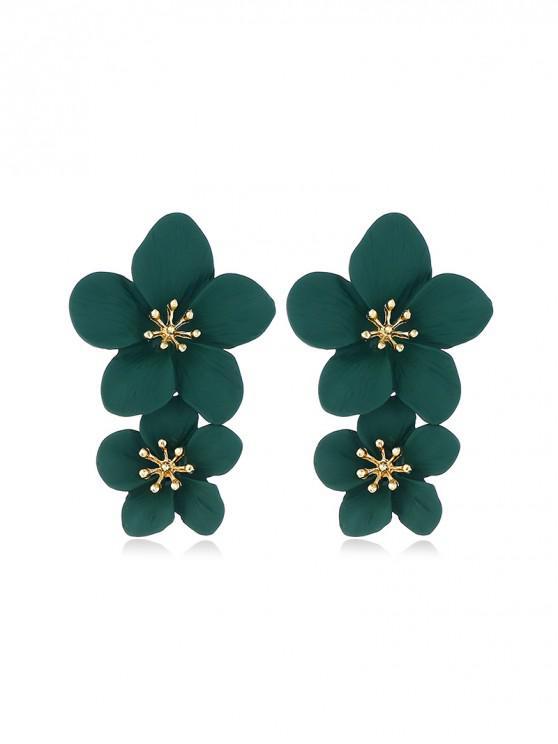 Boucles d'Oreilles Vintages Fleuries Sculptées - Vert