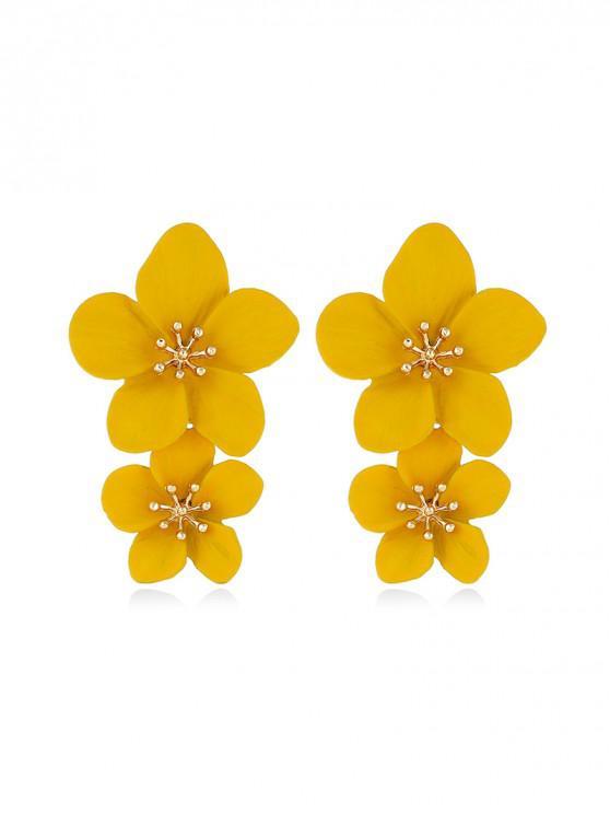 Aretes florales tallados vintage - Amarillo