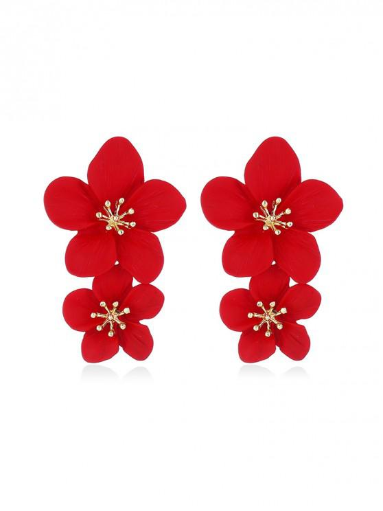 women's Vintage Carved Floral Stud Earrings - RED