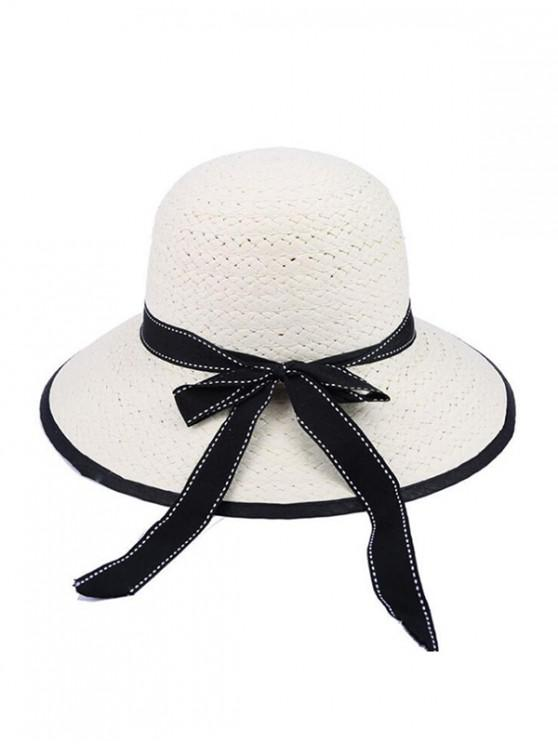 trendy Bowknot Beach Straw Bucket Hat - WHITE
