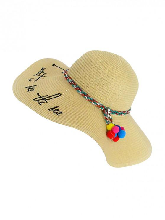 fashion Beach Straw Character Woven Sun Hat - BEIGE