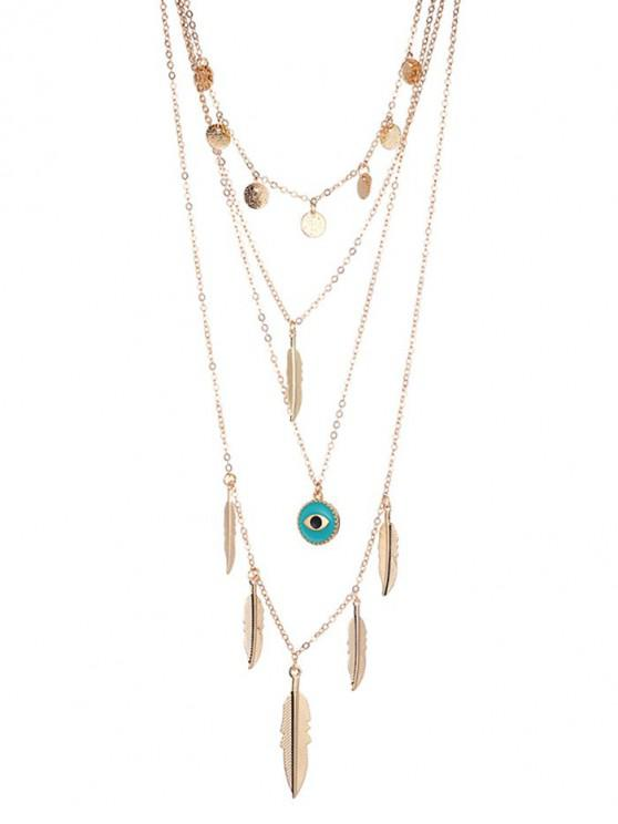sale Round Feather Eye Layered Necklace - GOLD