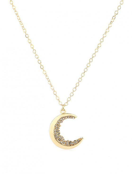 Collier Pendant Lune avec Strass - Or