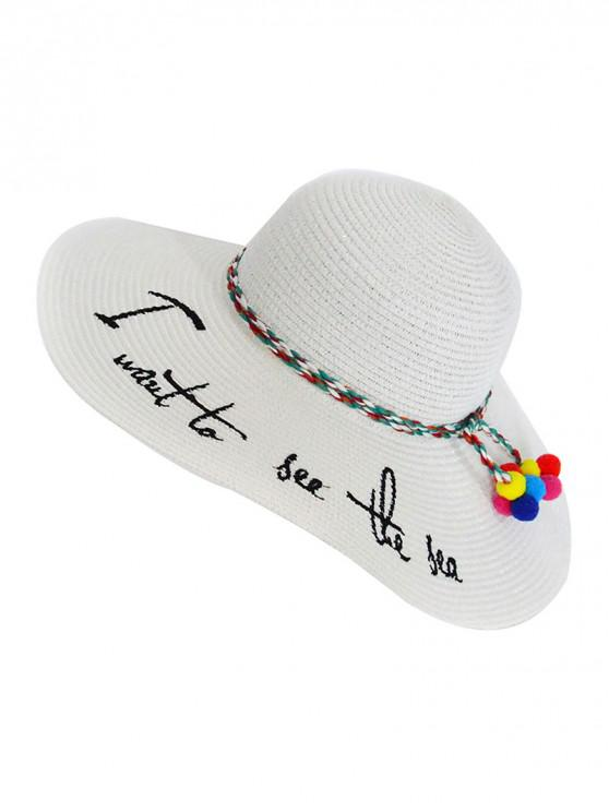 outfits Beach Straw Character Woven Sun Hat - WHITE