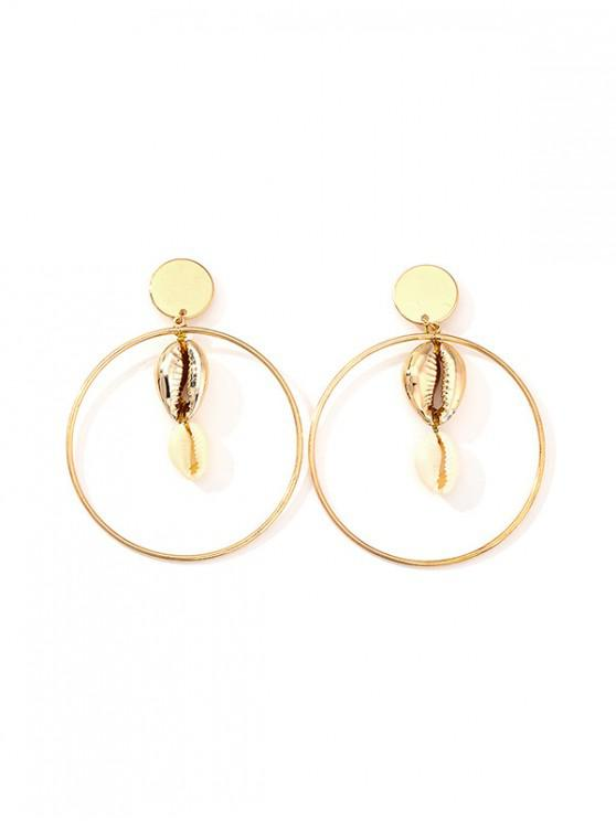 unique Shell Circle Drop Earrings - MULTI-B