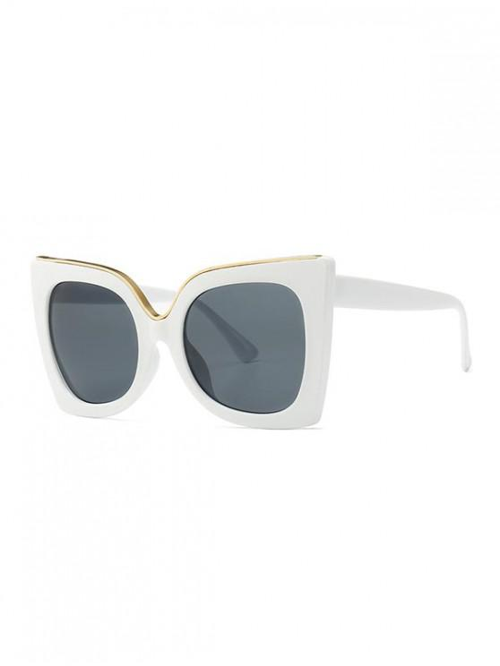 shops Wide Rim Retro Oversize Sunglasses - WHITE