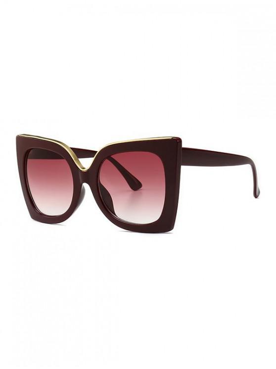 women's Wide Rim Retro Oversize Sunglasses - RED WINE
