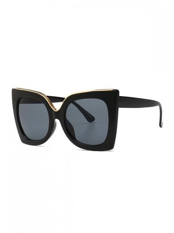 womens Wide Rim Retro Oversize Sunglasses - BLACK