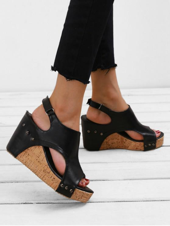 women's Wedge Heel Casual Slingback Sandals - BLACK EU 39