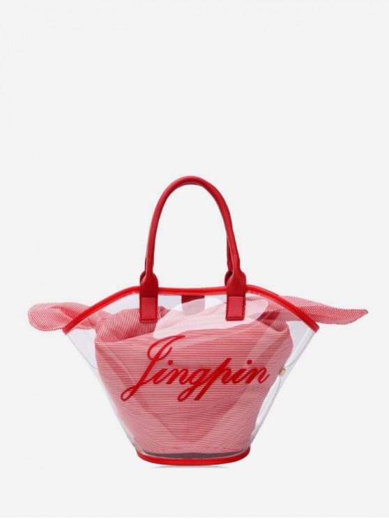 unique Translucent PVC Striped Handbag - RED
