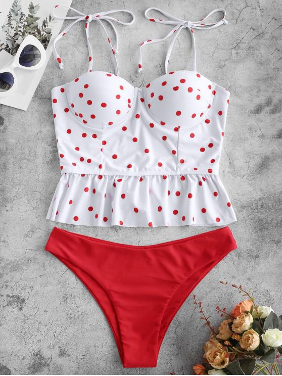 fashion ZAFUL Polka Dot Push Up Peplum Tankini Swimsuit - WHITE S