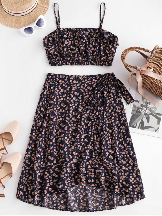hot ZAFUL Ruffles Tiny Floral Knotted Skirt Set - MIDNIGHT BLUE M