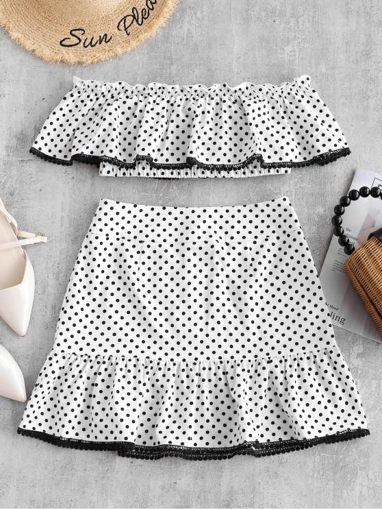 outfit ZAFUL Off Shoulder Ruffles Polka Dot Top And Skirt Set - WHITE S