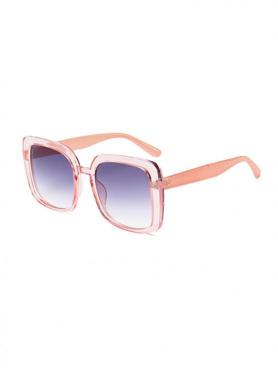 Lunettes de Soleil Carrées Surdimensionnées Anti-UV - Rose Léger