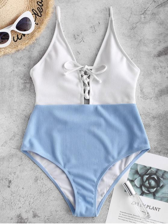 outfits ZAFUL Color Block Ribbed Lace Up Swimsuit - MULTI-A S