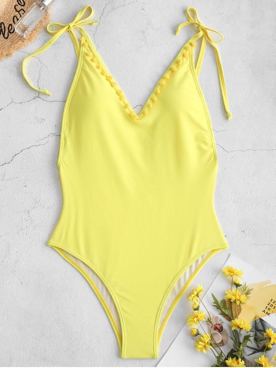 online ZAFUL Pom-pom Tie Drop Armhole One-piece Swimsuit - YELLOW L