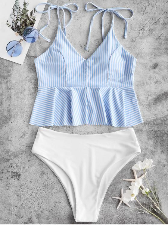 trendy ZAFUL Striped Tie Shoulder Peplum Tankini Swimsuit - DENIM BLUE M