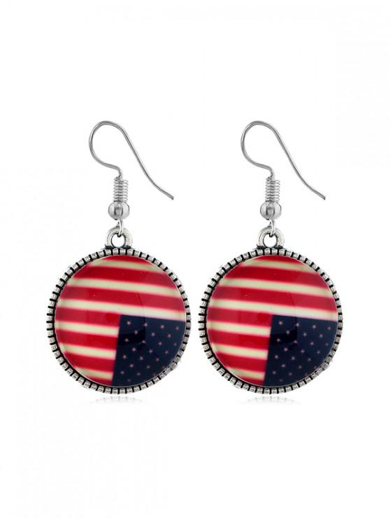 chic Flag Pattern Round Drop Earrings - MULTI-A