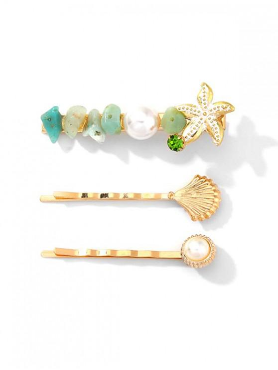 online 3Pcs Shell Starfish Shape Hairpin Set - GREEN