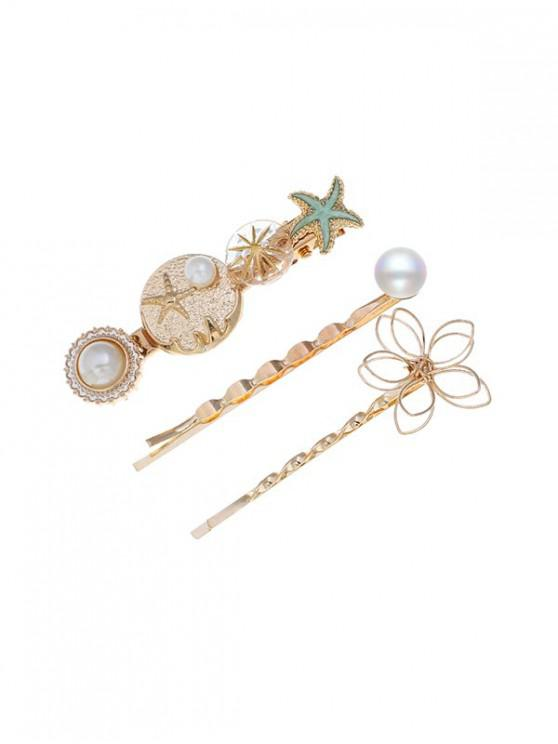 shops Holiday Style Starfish Faux Pearl Hairpin Set - MULTI-C