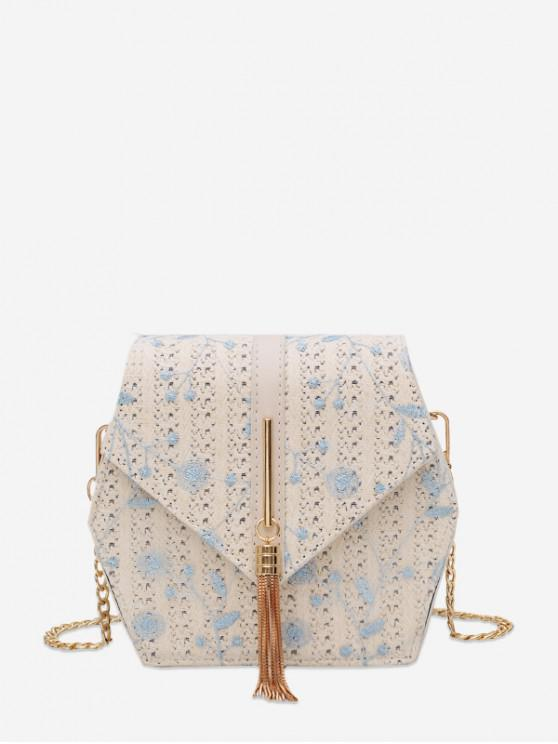trendy Fringe Decor Geometric Straw Crossbody Bag - BABY BLUE