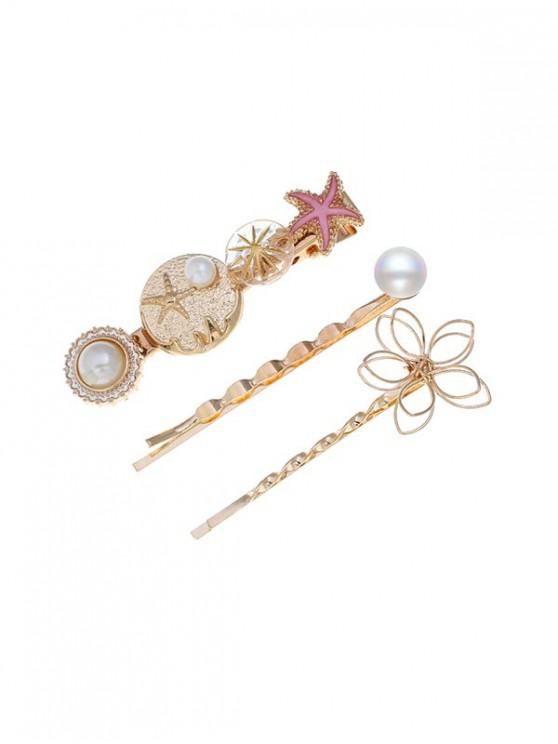 chic Holiday Style Starfish Faux Pearl Hairpin Set - MULTI-B
