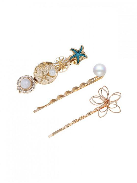 unique Holiday Style Starfish Faux Pearl Hairpin Set - MULTI-A
