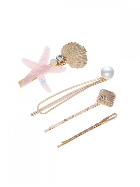 sale Simple Starfish Shell Faux Pearl Hairpin Set - MULTI-D